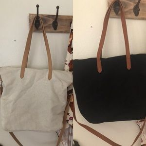 Tan and black canvas tote